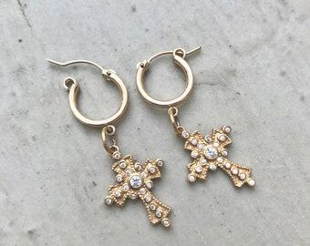 Gold Cross Hoop Earrings,Gold Cross Earrings,Gold Hoop Earrings,Cross Earrings,Crystal Cross Earrings,Hoop Earrings,Gold Cross,Cross Jewelry