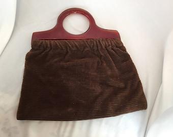 Vintage, Lucite and Corduroy Handbag, Top Handle/Brown