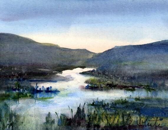 Wetlands #17 - original watercolor painting by Columbia Gorge artist Bonnie White - original watercolor - original art