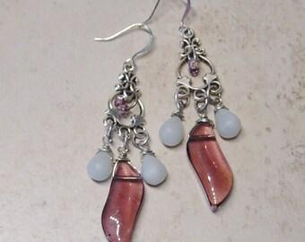 Purple & Blue Bead Silver Chandelier Earrings - Boho - Purple Glass Bead Earrings - Blue Bead Dangle Earrings - Silver Filigree Earrings