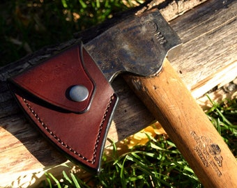 Leather Axe Sheath For Gransfors Bruk Axe Wildlife Hatchet / Quality Leather Axe Sheath Strong And Durable / PegCity Leather Custom Crafted