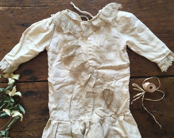 Antique French Silk Doll Dress for Large Doll