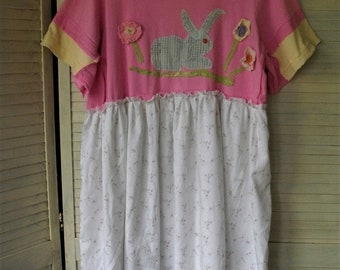 Easter Frock/ Bunny Dress/ Spring Wear/ Eco-Chic/ Plus Size Dress/ Appliqued Cotton/ Chenille Bunny/ Spring 2018/ Sheerfab Handmade