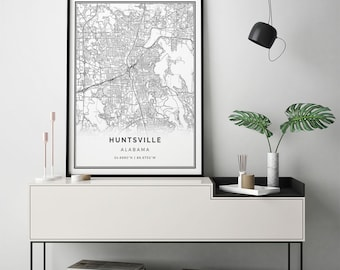 Huntsville map print | Scandinavian wall art poster | City maps Artwork | Alabama gifts | Map Coordinates | M124