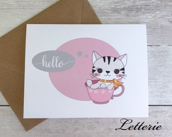 Folded Notecard Set - Teacup Cat / Kitty / Greeting Card / Cute / Kawaii / Gift / A2 Size / Hello / Note Card / Stationery