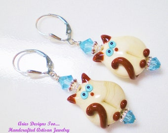 Cute Siamese Lampwork Kitten Earrings in Tan and Brown with Aqua Accents