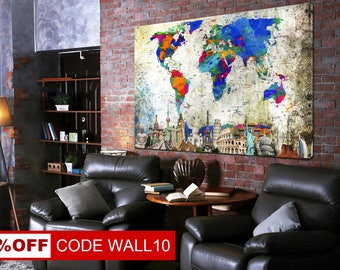 Colorful Map Canvas, World Map, World Map Canvas, World Map Wall Art, Сustom world map, World Map Poster, Colorful World Map, World Map Gift