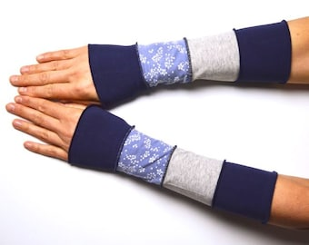 Summer Mittens Arm Warmers Wrist Warmers blue gray patchwork