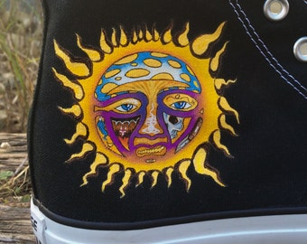 Custom Sublime themed art work with logo on Converse.