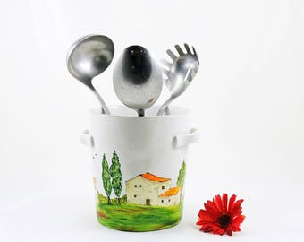 Hand painted utensil holder - Village Provencal collection