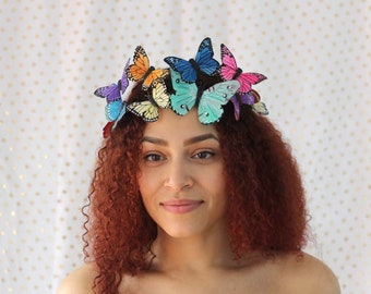 Rainbow Butterfly Crown - princess, fairy, tropical, bride