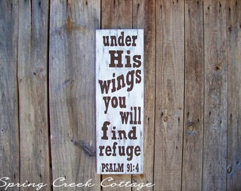 Rustic Scripture Signs, Psalm 91:4, Scripture Art, Inspirational Sayings, Rustic, Handpainted, Wood Sign, Home Decor, Farm, Cabin