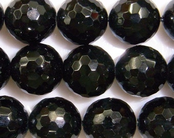 10mm Round Cut Black Tourmaline Beads - 9049