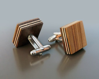 Wooden Cufflinks - Satin Walnut, Men's Jewelry, Unique Gift, Gift Ideas