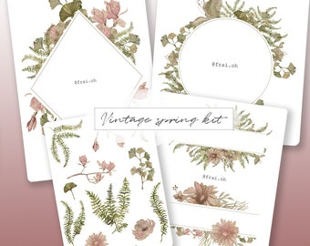 Vintage spring kit • Flowers stickers • Watercolors stickers • Decorative stickers • Bullet Journal stickers • Planner stickers