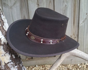 Australian Outback Squashy Bush Hat  BUFFALO LEATHER with CROCODILE teeth