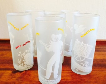 Cowboy Glasses, Libbey Frosted Glasses, Midcentury Barware Tom Collins 1950s
