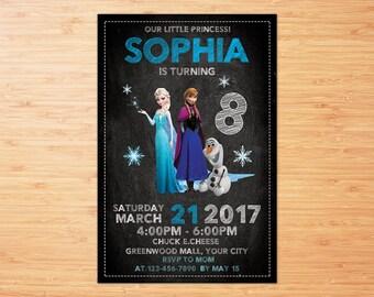 ELSA INVITATION, Frozen Chalkboard Invitation, Frozen Invitation, Frozen Party Invitation, Frozen Birthday Invite, Elsa Birthday Invitation