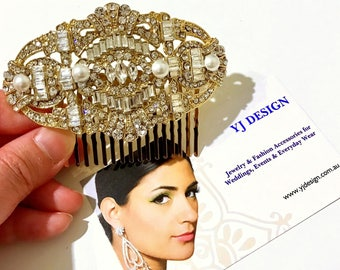 Gold Bridal Hair Comb, Bridal Hair Jewelry, Art Deco Wedding Hair Comb, Gatsby Bridal Headpiece, Swarovski Pearl Hair Comb, MERIDAS