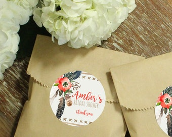 24 Paper Favor Bags - Skull & Feathers Label | Wedding Favor Bags | Bridal Shower Favor Bags | Kraft Favor Bags | Baby Shower Favor | Floral