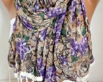Spring Purple Roses Floral Cotton Scarf, Cowl Scarf- Beach wrap,Gift for her,Women Fashion Accessories,bohemian
