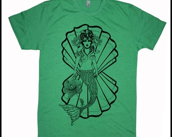Men's MERMAIDEN T-Shirt Tattoo Style Mermaid with Hibiscus American Traditional Tee Shirt