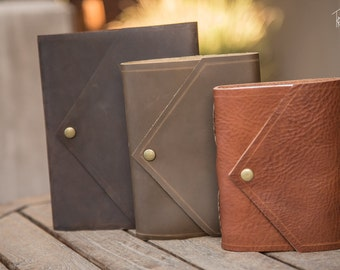 Leather Journals | Envelope Style Handmade Leather Journal | Leather Notebook | Leather Diary