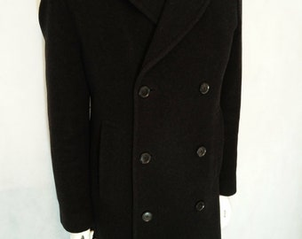 Vintage Hugo Boss double breasted dark grey/black winter overcoat in Wool and Cashmere