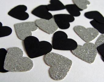 Heart Confetti. Black and Silver Heart Confetti. Wedding Confetti. Silver and Black Party Decor. Birthday Party Decor. Party Decorations.