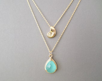 Double strands layered, Ariel, Seachell, Mint, Glass, Gold, Silver, Necklace, Lovers, Friends, Mom, Sister, Gift
