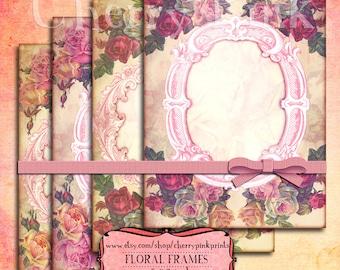 Digital Paper Vintage FLORAL FRAMES Collage Shabby Texture Digital Collage Sheet Download Scrapbooking Supplies for homecraft