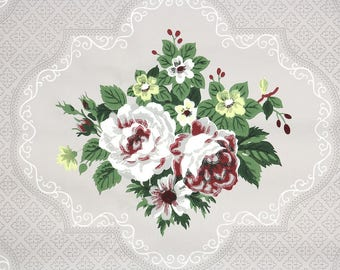 1950s Vintage Wallpaper by the Yard - Floral Wallpaper with White and Burgundy Cabbage Roses