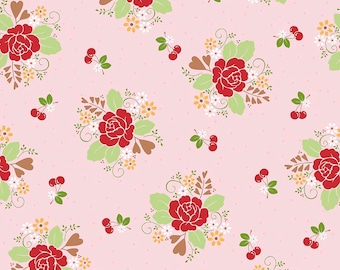 Sew Cherry 2 - Per Yd - Riley Blake - by Lori Holt - Main print Red flowers on Pink