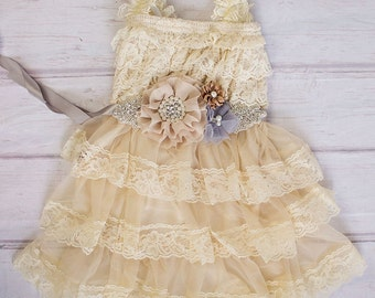 Wheat Rustic Flower Girl Dress / Country Flower Girl Dress / Lace Petti Dress..Rustic Flower Girl / Champagne Lace Flower Girl Dress