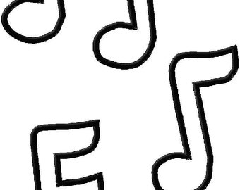 Embroidery Design Applique Music Notes