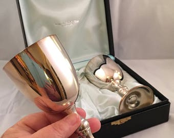 Boxed set of 2 Vintage 70's Wm A Rigers Silver plated wine goblets. Silver plated wine goblets. Boxed set. Giftable . Mint condition .