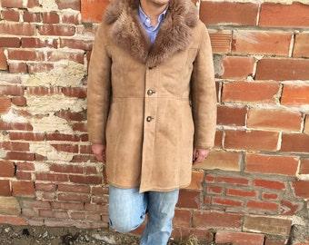 vintage tan shearling jacket sheepskin jacket suede with fur collar - 70s
