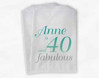 40th Birthday Personalized Candy Buffet Bags - 40 and Fabulous Custom Favor Bags in Aqua Ombre and Silver - 25 Paper Treat Bags (0079)