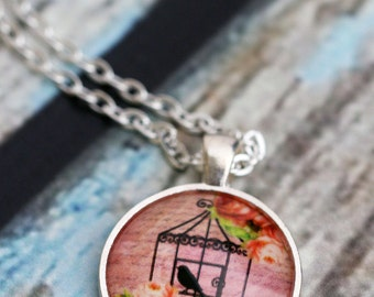 FREE SHIPPING Pink Birdcage Necklace - silver or bronze pendant necklace