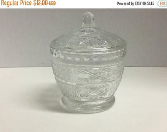 Sale Vintage Glass Candy Dish with Lid Covered Candy Dish Glass Clear Glass Candy Dish Tic Tac Toe Pattern Sunburst Flower Pattern