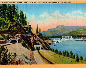 Vintage Oregon Postcard - Bonneville Dam and Tunnels along the Columbia River (Unused)