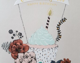 Fabulous Granddaughter Birthday card, Cupcake Granddaughter gold foil Birthday card. Blank Birthday card for a Granddaughter, Gold Foil card