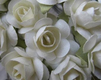 Paper Flowers 48 Petite Millinery Roses White ~ 4 Bundles