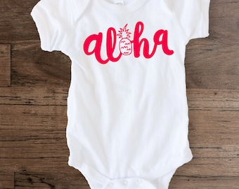 Aloha Pineapple - Cute Holiday Vacation Summer Beach Ocean Tropical Hawaii Newborn Baby Girl Infant Onesie Bodysuit tees Tshirt shirt