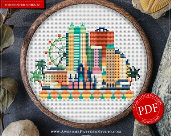 Orlando Cross Stitch Pattern for Instant Download *P090 | Easy Cross Stitch| Counted Cross Stitch|Embroidery Design| City Cross Stitch