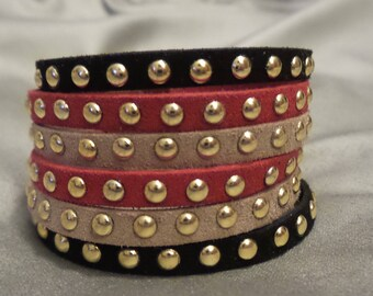 multi strand magnetic suede studded Cuff Bracelet
