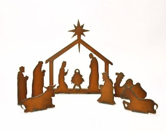 Nativity Scene Unique Rusted Metal Holiday Decor Vintage Inspired