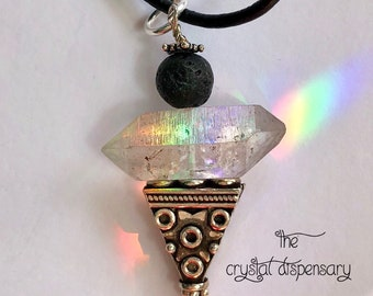 Herkimer Diamond Oil Diffuser Aromatherapy Angel, With Lava Stone & Bali Silver. Ascension Crystal ~ Psychic, Clairvoyant