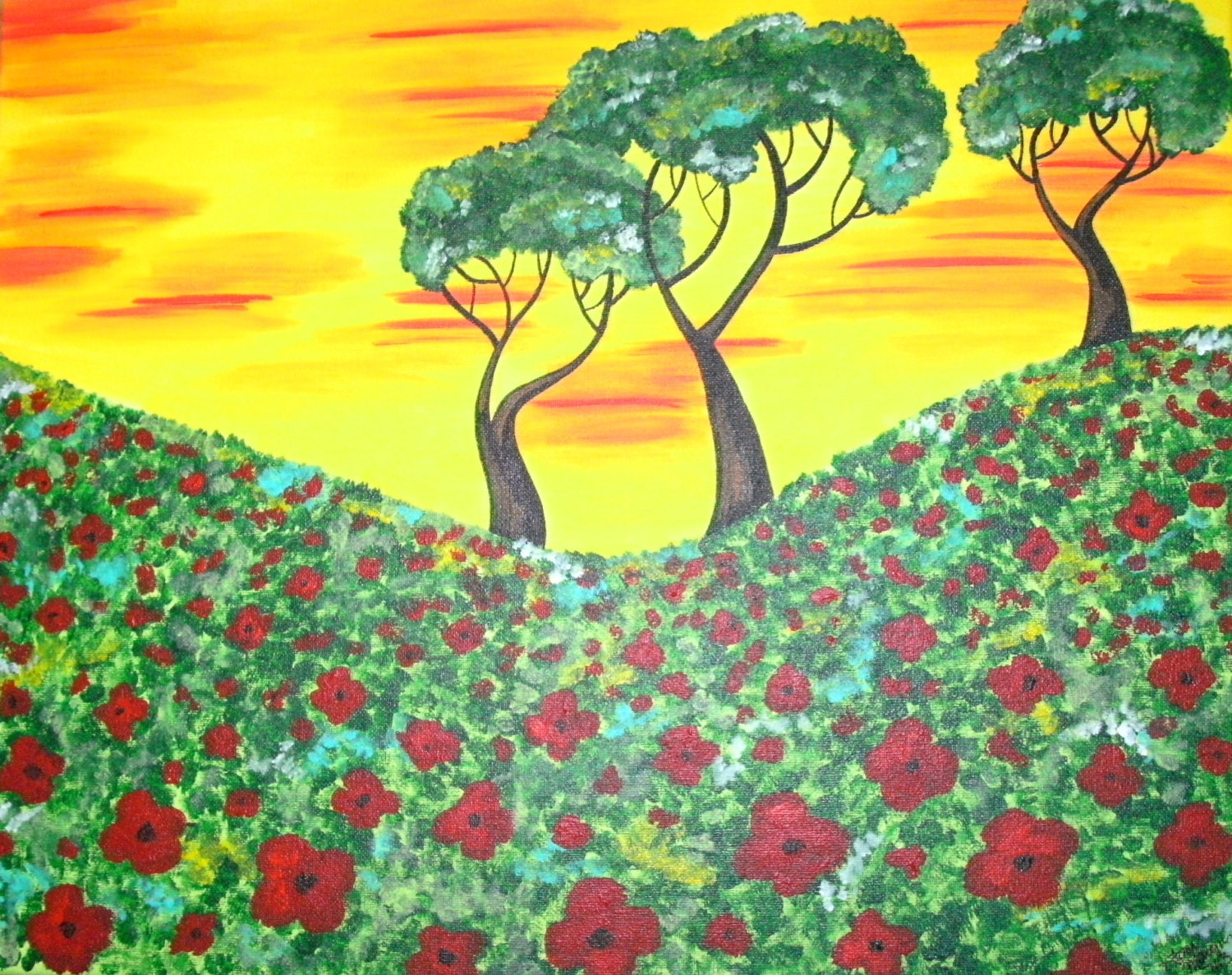 Custom Poppy Painting Poppy Field and Trees Poppies