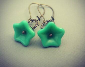 Turquoise Glass flower Earrings